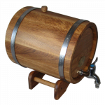 Oak barrel with underframe -10L, with tires made of stainless steel