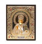 "Icon ""Nikolay Chudotvorets""  10x12 cm, silver color"