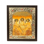 Icon of the Holy Trinity 15x18 cm, patterned frame