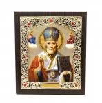 "Icon ""Nikolay Chudotvorets""  15x18 cm, patterned frame"