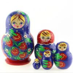 Matryoshka 5piece, red, black apron with berries