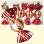Christmas tree decoration Candies, 6 pcs, red, 11,5x5x4 cm