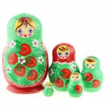 Matryoshka 5piece, red, Camomile blue apron