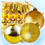 Christmas tree decoration Set, 60 pieces, gold, height 6 cm to 10 cm