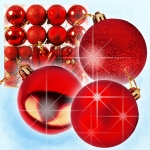 Christmas tree decoration Set, Red, 58 pieces, height from 3,5cm to 12cm