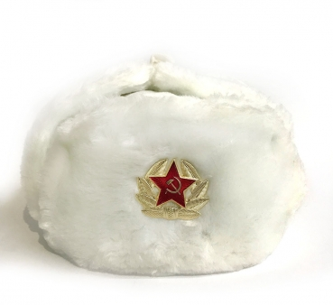 Winter hat with earcaps, white, USSR