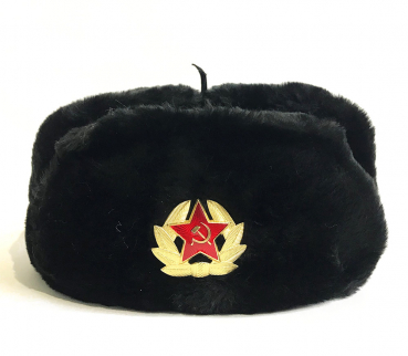 Winter hat with earcaps, black, USSR