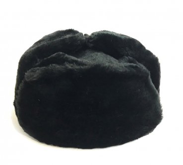 Winter hat with earcaps, black without a cockade, USSR