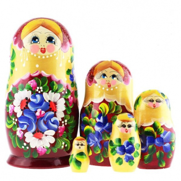 Matryoshka 5 seats of chamomile and violet claret with gold, 17 cm, MS0504LusI-11