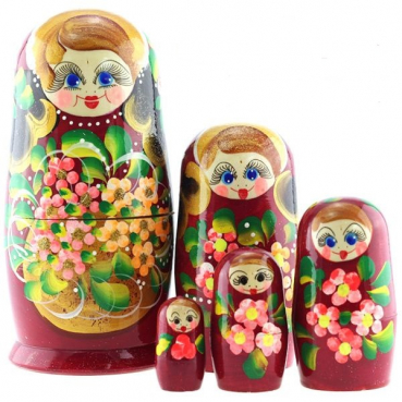 Matryoshka 5 places basket with flowers burgundy, 18 cm, MS0504BarS-02