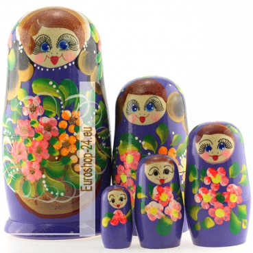 Matryoshka 5 seats basket with flowers purple Height 18 cm, MS0504BarS-05
