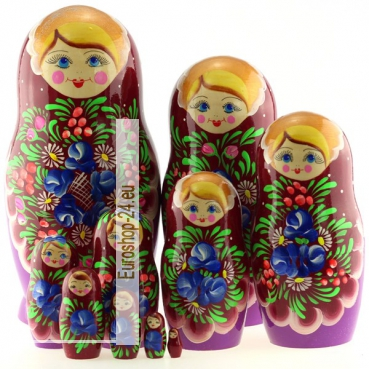 Matryoshka 10 places burgundy-lilac bouquet of flowers, 26,5 cm, MS1003griA-02