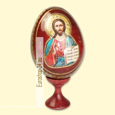 Easter egg with wooden icon of Christ Pantocrator, 9 cm