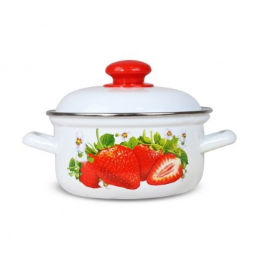 "Pot with lid ""strawberry"" 3 L, enamelled"