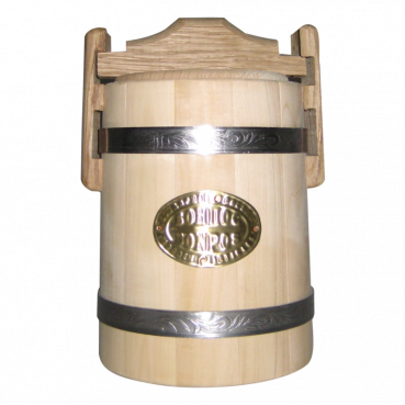 Bucket with a lid for honey, 5L, linden wood with stainless steel tires