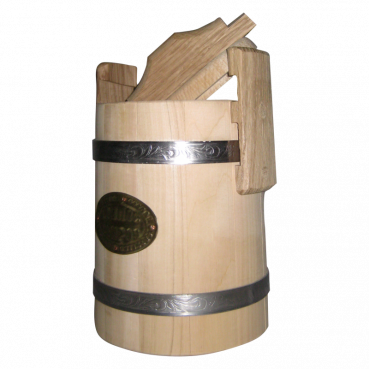 Bucket with a lid for honey, 3L, linden wood with stainless steel tires