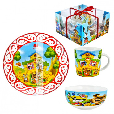 "3-tlg. Set für Kinder ""Teremok"" Becher 300 ml, Suppenteller 600 ml, Teller 20 cm, porzelan"