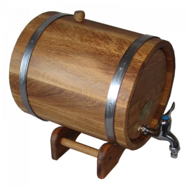 Oak barrel with underframe 10L, with tires made of stainless steel