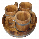 Beer mug wooden 0.5L, 3 Piece Set + tray (oak)