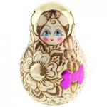 Matryoshka - Stand Up doll, with woodbrand painting Zhzhenka