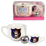 "Tea set ""most, Most"", 500 ml Cup, tea Strainer and a plate for bag"