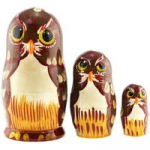 Matryoshka - Animal 3 parts, The owls, brown