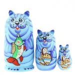 Matryoshka - Animal 3 parts, A cat with a fish, blue