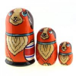 Matryoshka - Animal 3 parts, Black dog